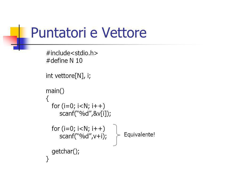 Puntatori e Vettore #include #define N 10 int vettore[N], i; main() { for (i=0; i<N; i++) scanf(%d,&v[i]); for (i=0; i<N; i++) scanf(%d,v+i); getchar(