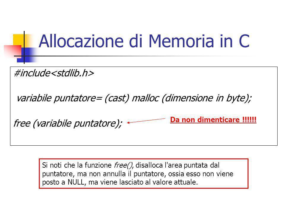 Allocazione di Memoria in C #include variabile puntatore= (cast) malloc (dimensione in byte); free (variabile puntatore); Da non dimenticare !!!!!! Si