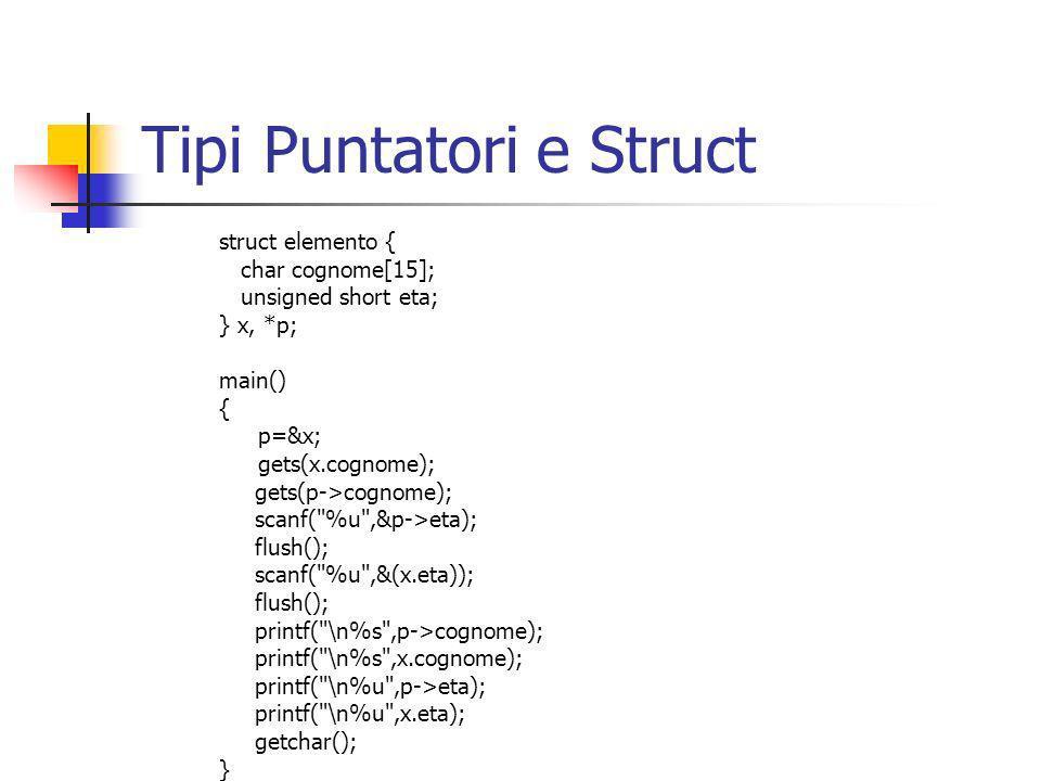 #define C 20 struct persona { char cognome[C], nome[C]; } ; void LeggiPersona(struct persona * ); main(){ struct persona elem; LeggiPersona(&elem); } void LeggiPersona(struct persona * p){ printf( \nInserisci il Cognome ); LeggiStringa(p->cognome,C); printf( \nInserisci il Nome ); LeggiStringa(p->nome,C); } Passaggio Parametri &