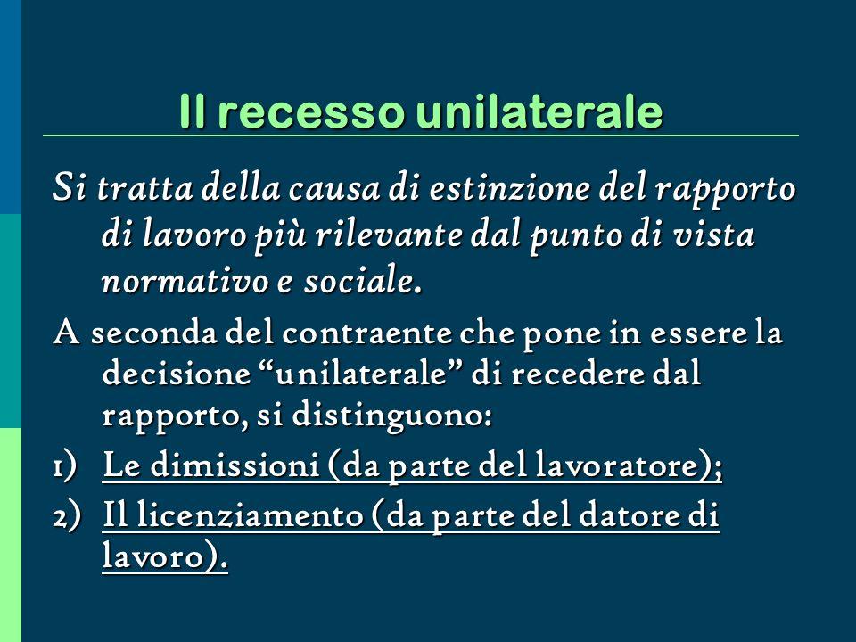 Il recesso unilaterale Si tratta della causa di estinzione del rapporto di lavoro più rilevante dal punto di vista normativo e sociale.