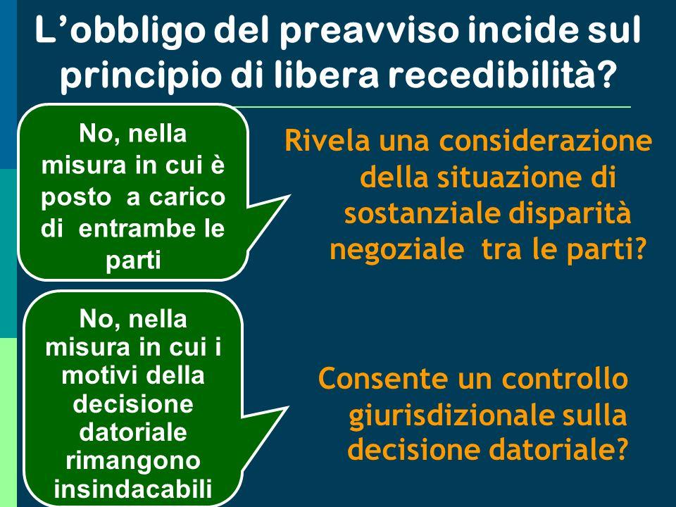 Lobbligo del preavviso incide sul principio di libera recedibilità.