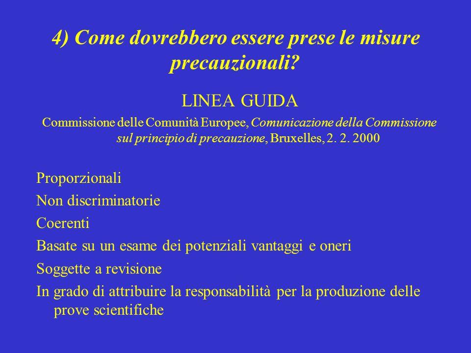 4) Come dovrebbero essere prese le misure precauzionali? LINEA GUIDA Commissione delle Comunità Europee, Comunicazione della Commissione sul principio