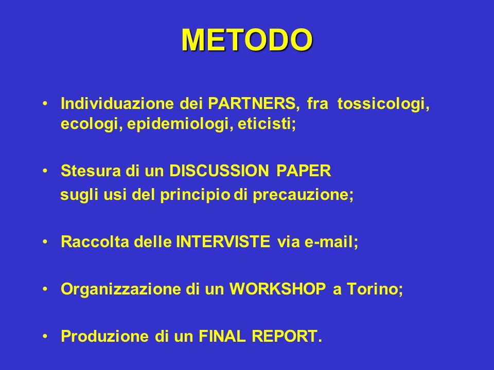 METODO Individuazione dei PARTNERS, fra tossicologi, ecologi, epidemiologi, eticisti; Stesura di un DISCUSSION PAPER sugli usi del principio di precau