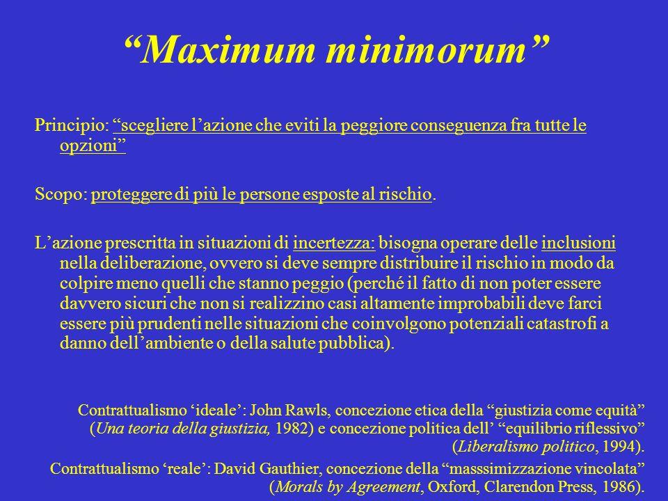 Maximum minimorum Principio: scegliere lazione che eviti la peggiore conseguenza fra tutte le opzioni Scopo: proteggere di più le persone esposte al r