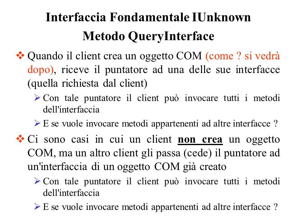 Quando il client crea un oggetto COM (come ? si vedrà dopo), riceve il puntatore ad una delle sue interfacce (quella richiesta dal client) Con tale pu