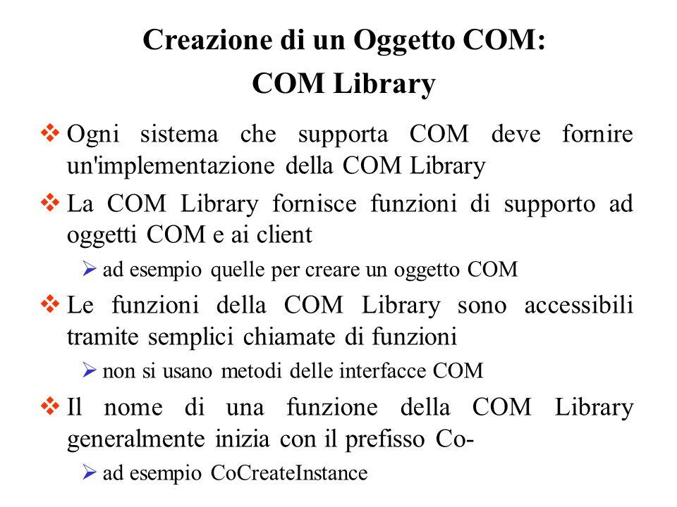 Ogni sistema che supporta COM deve fornire un'implementazione della COM Library La COM Library fornisce funzioni di supporto ad oggetti COM e ai clien
