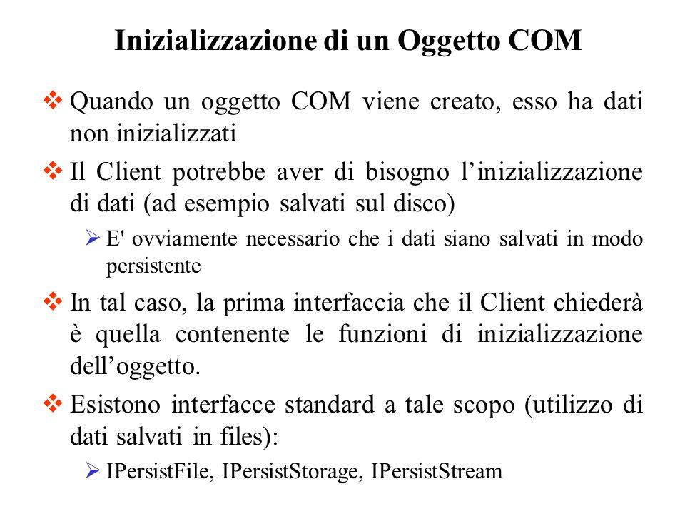 Quando un oggetto COM viene creato, esso ha dati non inizializzati Il Client potrebbe aver di bisogno linizializzazione di dati (ad esempio salvati su