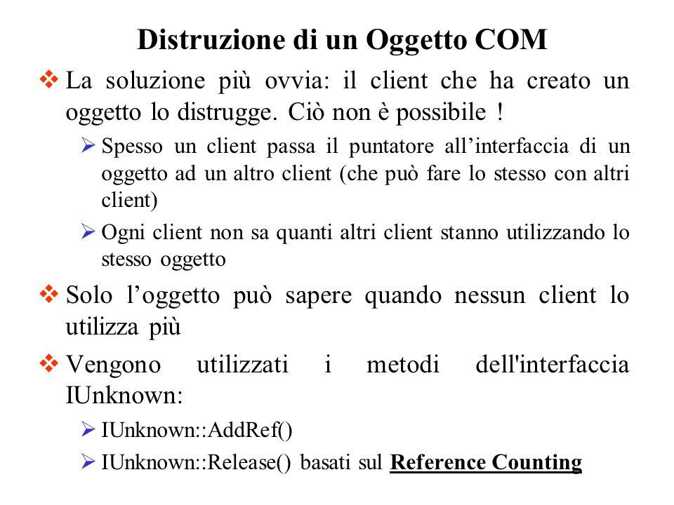 La soluzione più ovvia: il client che ha creato un oggetto lo distrugge. Ciò non è possibile ! Spesso un client passa il puntatore allinterfaccia di u
