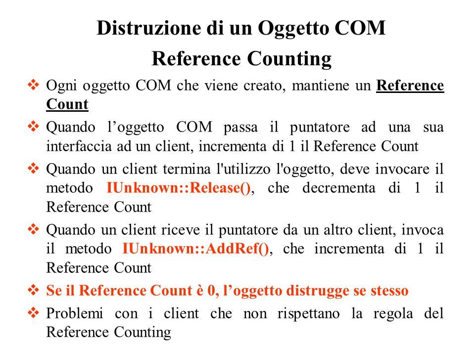 Ogni oggetto COM che viene creato, mantiene un Reference Count Quando loggetto COM passa il puntatore ad una sua interfaccia ad un client, incrementa