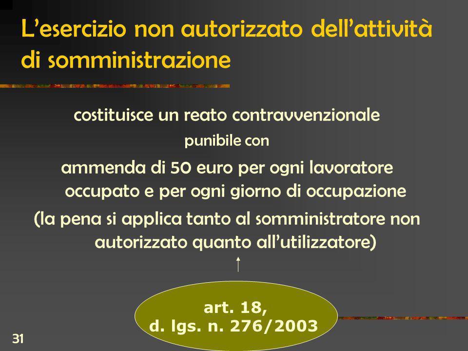 31 Lesercizio non autorizzato dellattività di somministrazione costituisce un reato contravvenzionale punibile con ammenda di 50 euro per ogni lavoratore occupato e per ogni giorno di occupazione (la pena si applica tanto al somministratore non autorizzato quanto allutilizzatore) art.