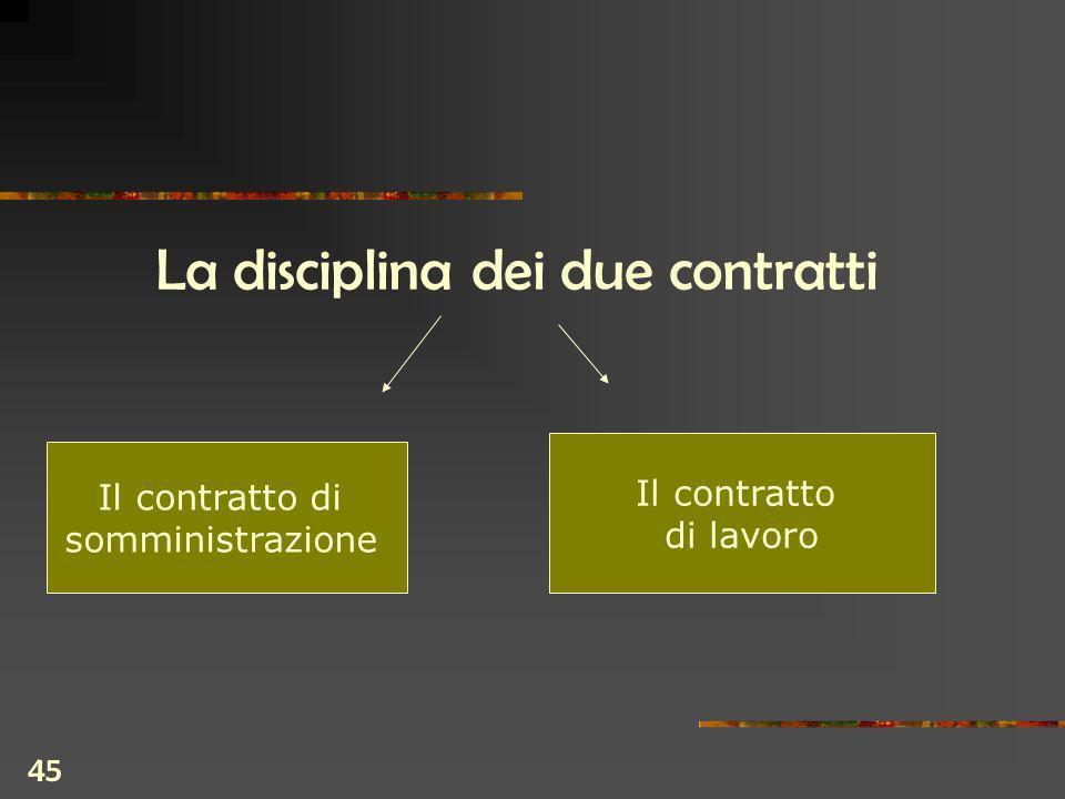 45 La disciplina dei due contratti Il contratto di somministrazione Il contratto di lavoro