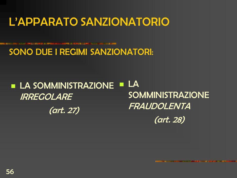 56 LAPPARATO SANZIONATORIO SONO DUE I REGIMI SANZIONATORI: LA SOMMINISTRAZIONE IRREGOLARE (art.
