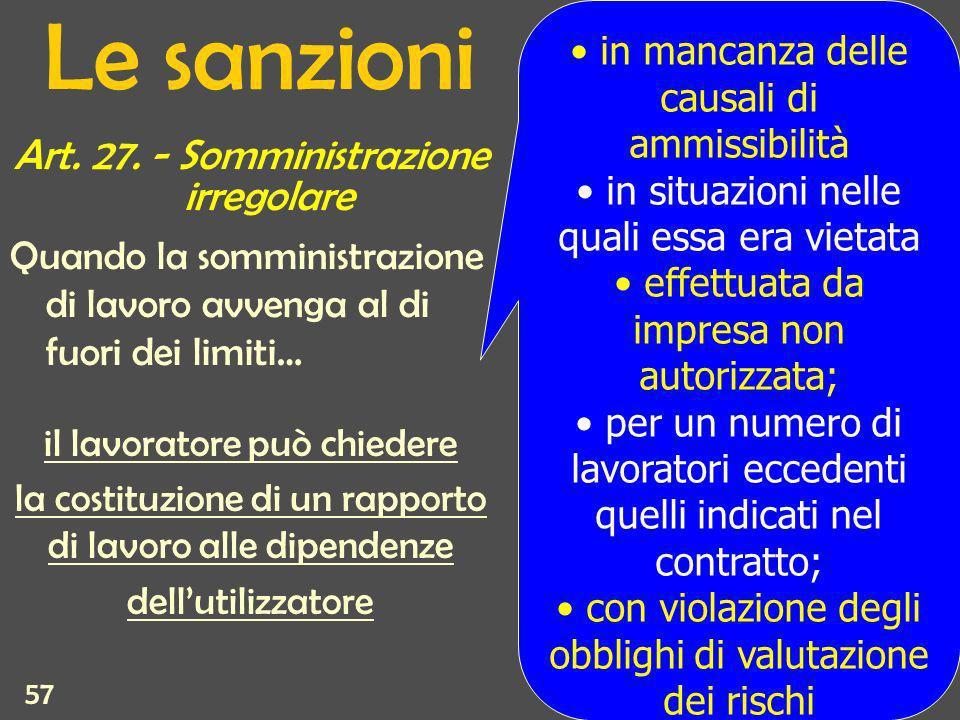 57 Le sanzioni Art. 27.