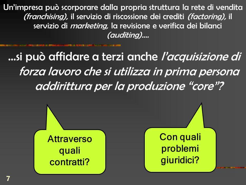7 …si può affidare a terzi anche lacquisizione di forza lavoro che si utilizza in prima persona addirittura per la produzione core.