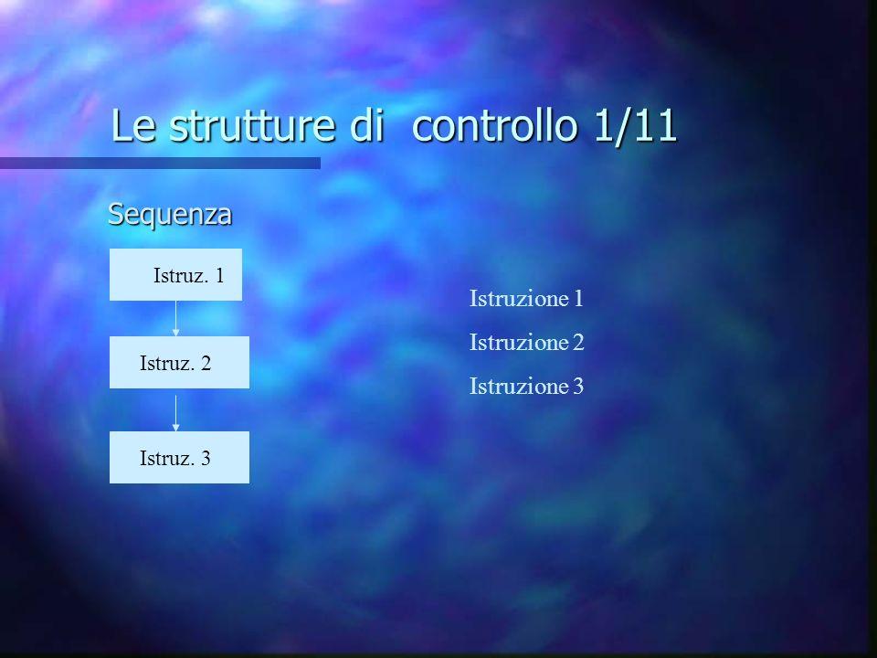 Le strutture di controllo 1/11 Sequenza Istruz. 1 z Istruz. 3 z Istruz. 2 z Istruzione 1 Istruzione 2 Istruzione 3