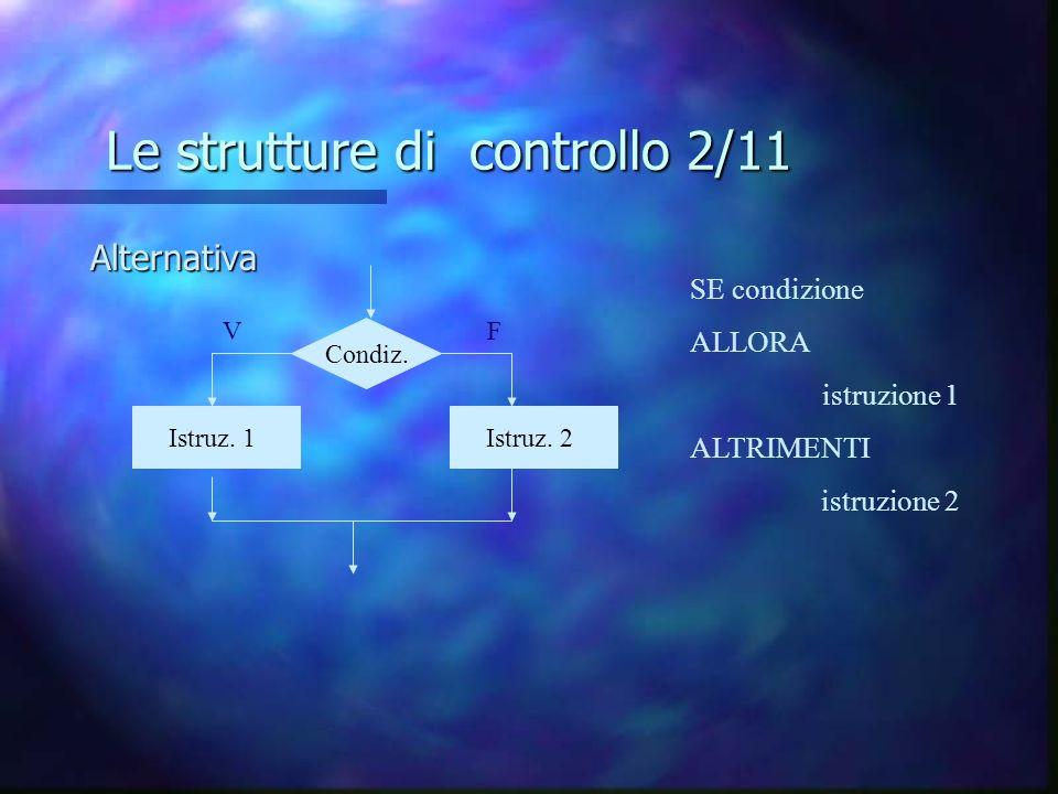 Le strutture di controllo 2/11 Alternativa Istruz. 1 z Istruz. 2 z Condiz. SE condizione ALLORA istruzione 1 ALTRIMENTI istruzione 2 VF