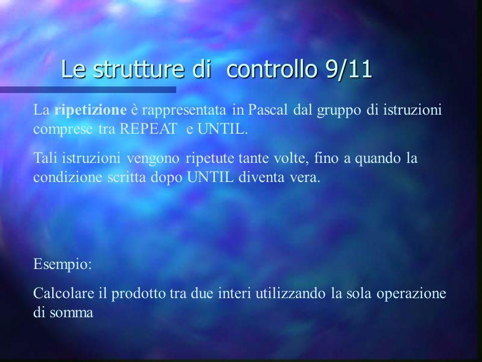 Le strutture di controllo 9/11 La ripetizione è rappresentata in Pascal dal gruppo di istruzioni comprese tra REPEAT e UNTIL. Tali istruzioni vengono