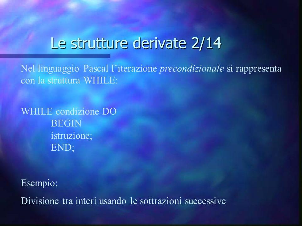 Le strutture derivate 2/14 Nel linguaggio Pascal literazione precondizionale si rappresenta con la struttura WHILE: WHILE condizione DO BEGIN istruzio