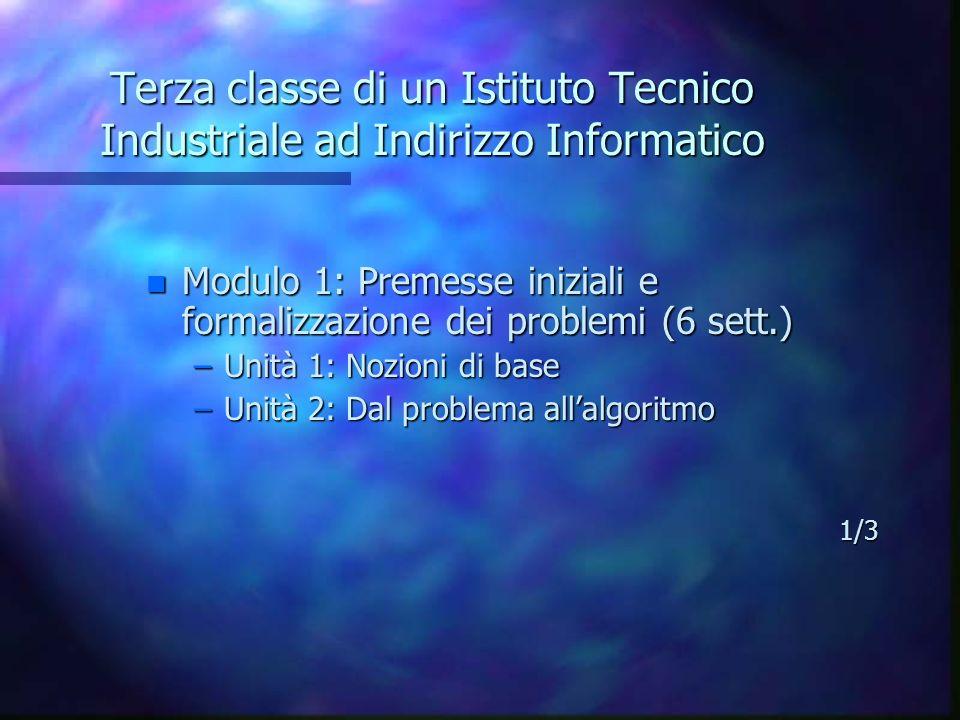 Terza classe di un Istituto Tecnico Industriale ad Indirizzo Informatico n Modulo 1: Premesse iniziali e formalizzazione dei problemi (6 sett.) –Unità