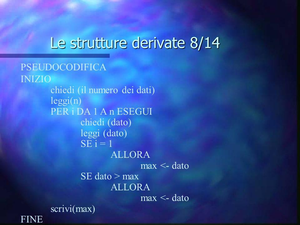 Le strutture derivate 8/14 PSEUDOCODIFICA INIZIO chiedi (il numero dei dati) leggi(n) PER i DA 1 A n ESEGUI chiedi (dato) leggi (dato) SE i = 1 ALLORA