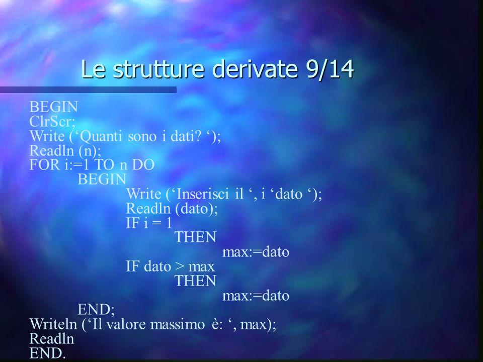 Le strutture derivate 9/14 BEGIN ClrScr; Write (Quanti sono i dati? ); Readln (n); FOR i:=1 TO n DO BEGIN Write (Inserisci il, i dato ); Readln (dato)