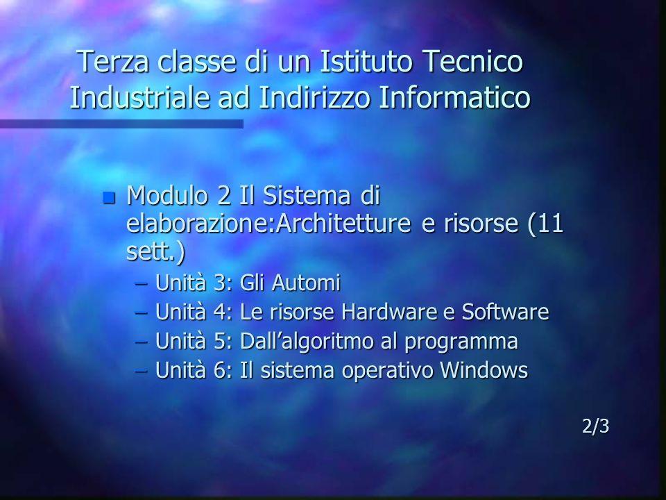Terza classe di un Istituto Tecnico Industriale ad Indirizzo Informatico n Modulo 2 Il Sistema di elaborazione:Architetture e risorse (11 sett.) –Unit