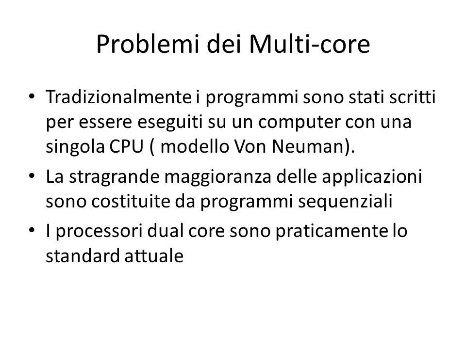Cenni di calcolo sequenziale Un problema viene suddiviso in sequenze discrete di istruzioni che vengono eseguite (di solito) una dopo laltra In un dato istante di tempo solo una istruzione è in esecuzione sulla CPU