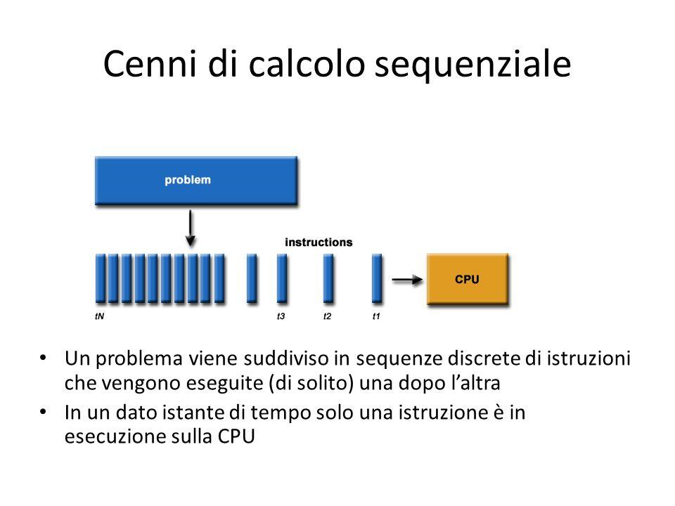 Cenni di calcolo parallelo Il calcolo parallelo è luso di più unità di computazione ( CPU multi core o multi CPU) per risolvere problemi Storicamente è stato sempre un paradigma costoso e di alto livello