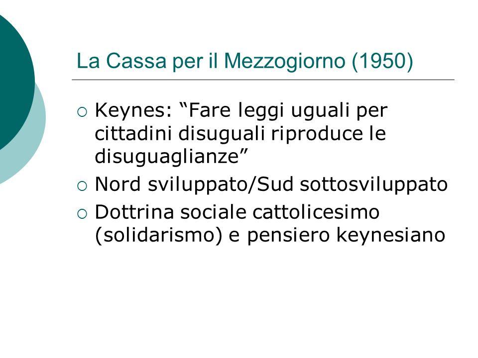 La Cassa per il Mezzogiorno (1950) Keynes: Fare leggi uguali per cittadini disuguali riproduce le disuguaglianze Nord sviluppato/Sud sottosviluppato D