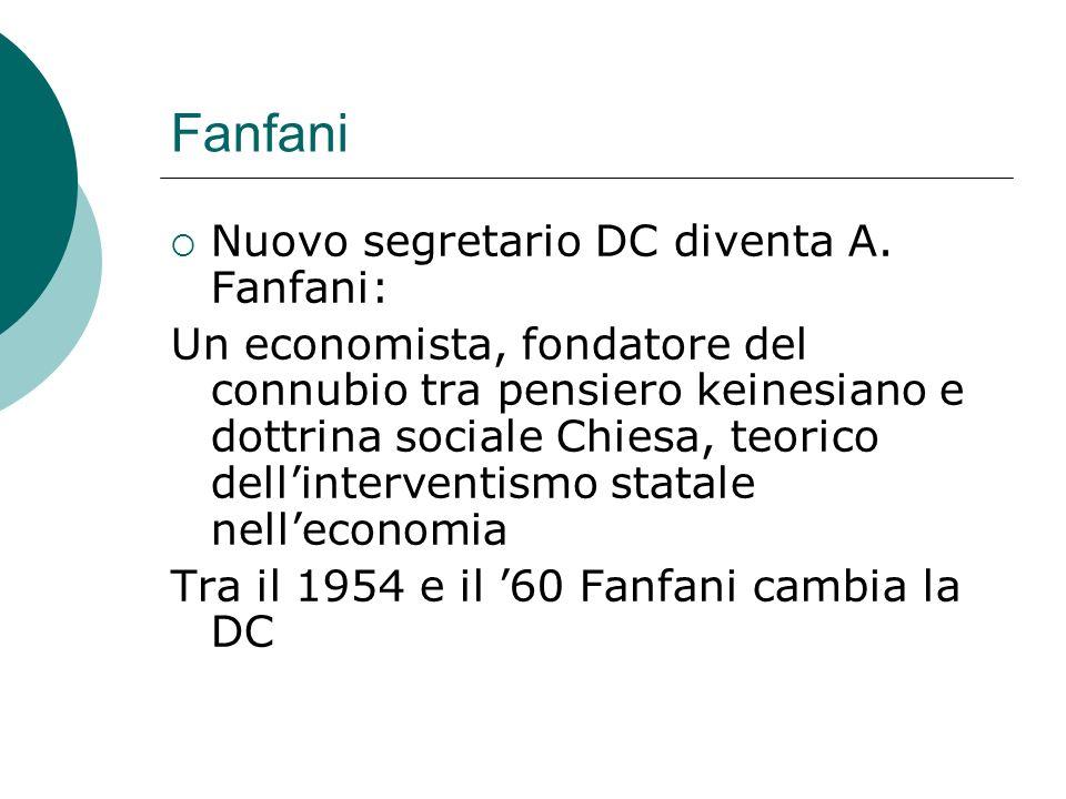 Fanfani Nuovo segretario DC diventa A. Fanfani: Un economista, fondatore del connubio tra pensiero keinesiano e dottrina sociale Chiesa, teorico delli