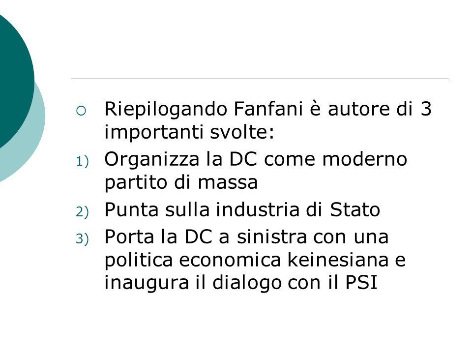 Riepilogando Fanfani è autore di 3 importanti svolte: 1) Organizza la DC come moderno partito di massa 2) Punta sulla industria di Stato 3) Porta la D