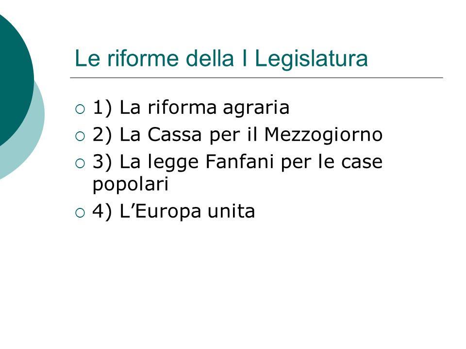 Le riforme della I Legislatura 1) La riforma agraria 2) La Cassa per il Mezzogiorno 3) La legge Fanfani per le case popolari 4) LEuropa unita