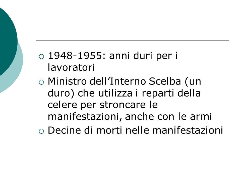 1948-1955: anni duri per i lavoratori Ministro dellInterno Scelba (un duro) che utilizza i reparti della celere per stroncare le manifestazioni, anche