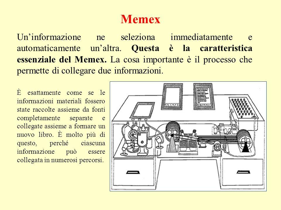 Memex È esattamente come se le informazioni materiali fossero state raccolte assieme da fonti completamente separate e collegate assieme a formare un nuovo libro.