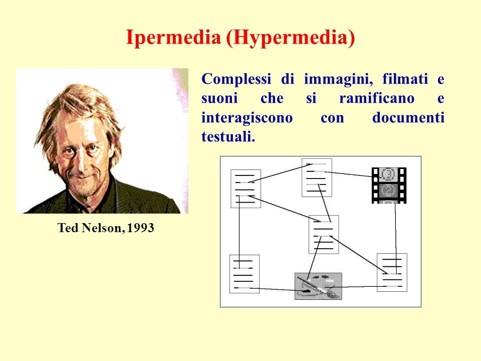 Ipermedia (Hypermedia) Complessi di immagini, filmati e suoni che si ramificano e interagiscono con documenti testuali.