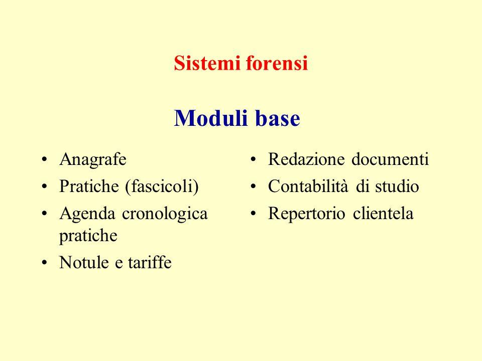 Sistemi forensi Anagrafe Pratiche (fascicoli) Agenda cronologica pratiche Notule e tariffe Redazione documenti Contabilità di studio Repertorio clientela Moduli base