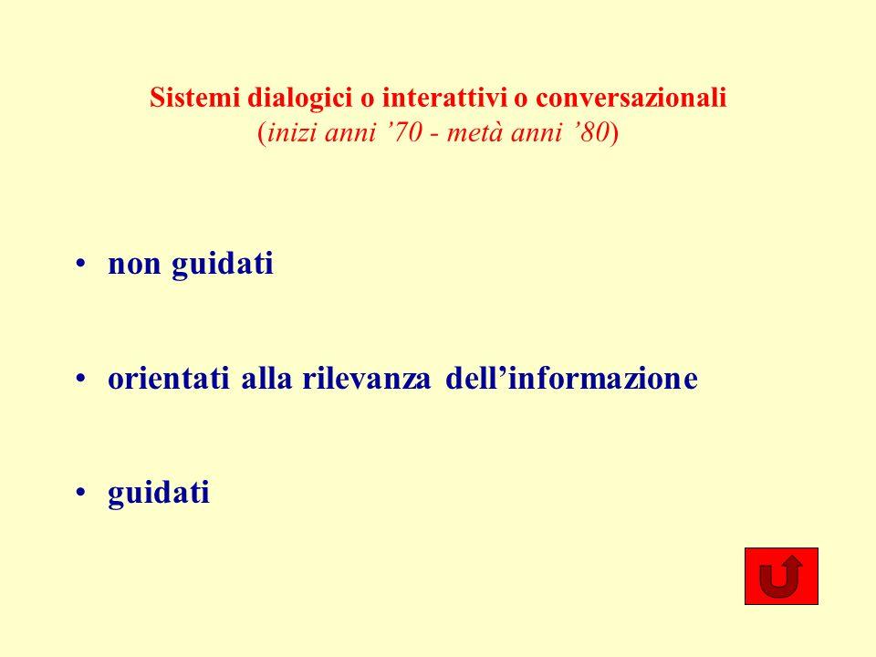 Sistemi dialogici o interattivi o conversazionali (inizi anni 70 - metà anni 80) non guidati orientati alla rilevanza dellinformazione guidati