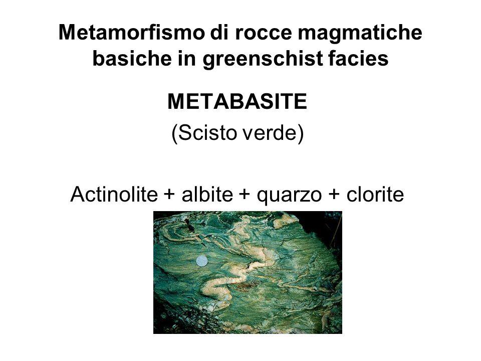 Metamorfismo di rocce magmatiche basiche in greenschist facies METABASITE (Scisto verde) Actinolite + albite + quarzo + clorite