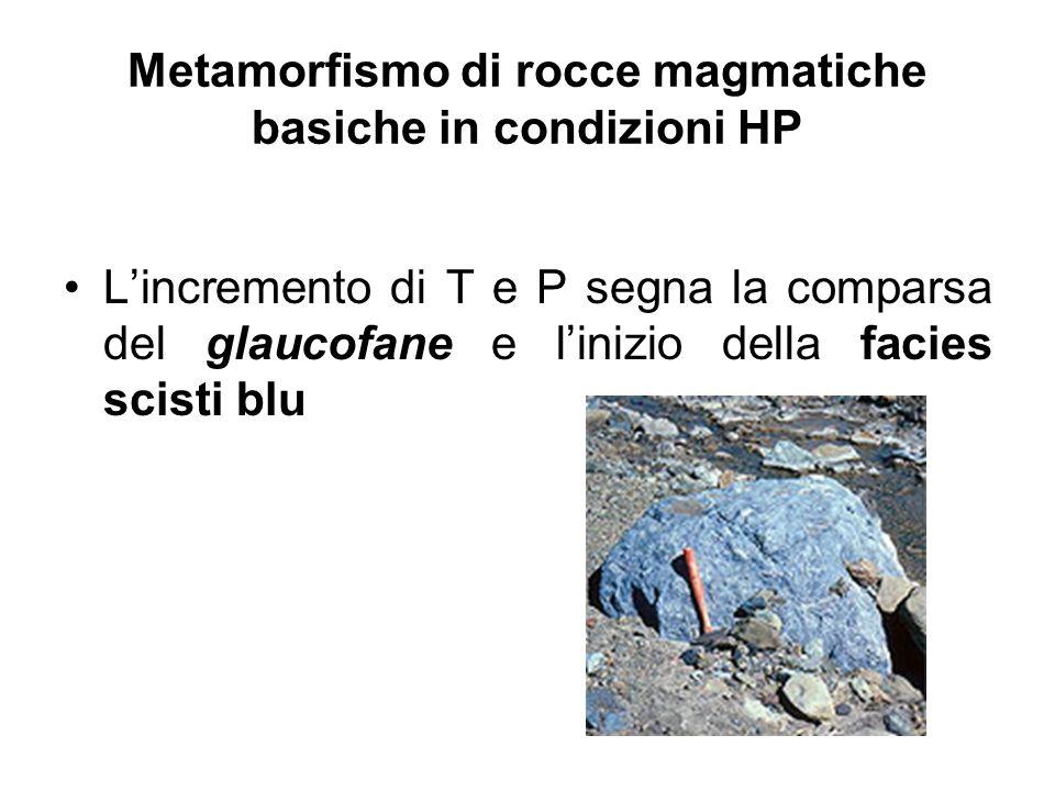 Metamorfismo di rocce magmatiche basiche in condizioni HP Lincremento di T e P segna la comparsa del glaucofane e linizio della facies scisti blu