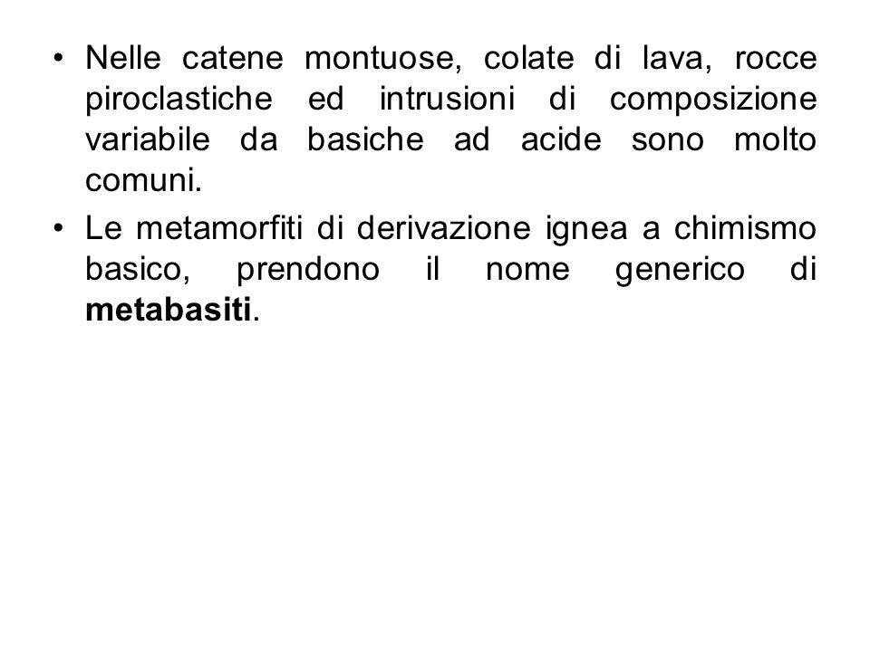 Protolite: rocce magmatiche basiche effusive (basalti, andesiti basaltiche) ed intrusive (gabbri, dioriti)