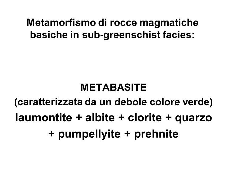 Metamorfismo di rocce magmatiche basiche in sub-greenschist facies: METABASITE (caratterizzata da un debole colore verde) laumontite + albite + clorit