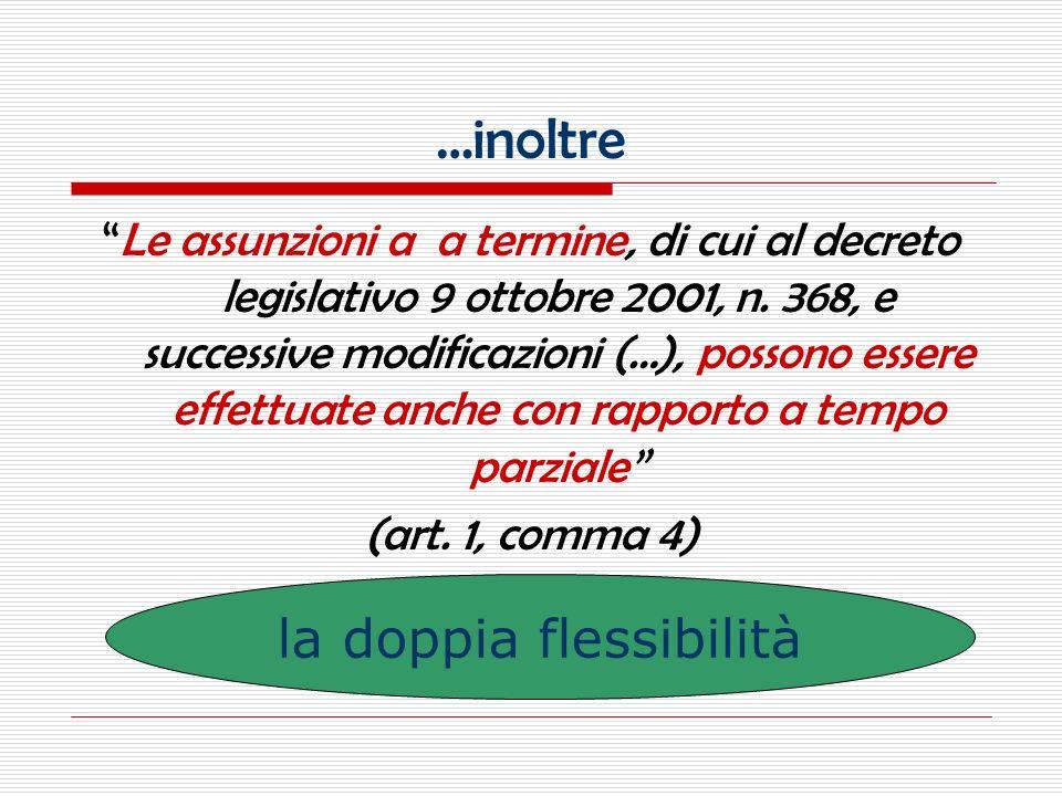 …inoltre Le assunzioni a a termine, di cui al decreto legislativo 9 ottobre 2001, n.