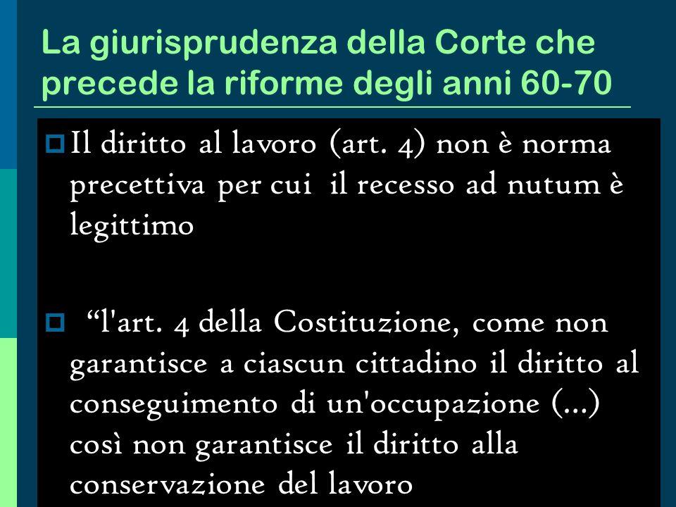 La tendenza evolutiva dellordinamento italiano Il blocco dei licenziamenti (1945 ) La successiva contrattazione interconfederale (1950) La legge 604 del 1966 L art.