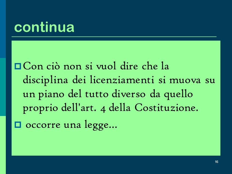 15 La giurisprudenza della Corte che precede la riforme degli anni 60-70 Il diritto al lavoro (art.