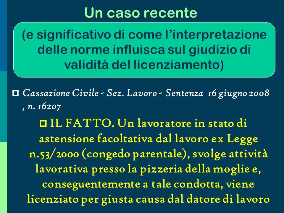 Fatti esterni comunque riconducibili alla nozione di inadempimento Vincenzo C., dipendente con mansioni di operaio, si è assentato per malattia, essendo stato colpito da lombosciatalgia acuta.