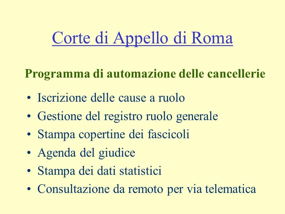 Corte di Appello di Roma Iscrizione delle cause a ruolo Gestione del registro ruolo generale Stampa copertine dei fascicoli Agenda del giudice Stampa dei dati statistici Consultazione da remoto per via telematica Programma di automazione delle cancellerie