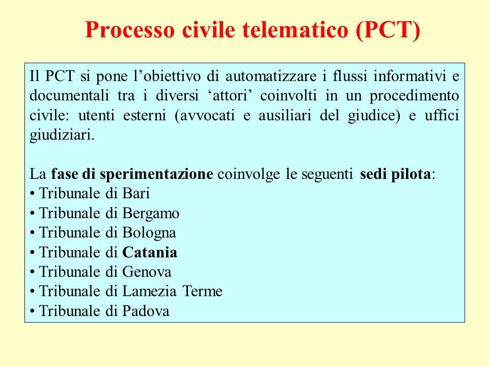 Il PCT si pone lobiettivo di automatizzare i flussi informativi e documentali tra i diversi attori coinvolti in un procedimento civile: utenti esterni (avvocati e ausiliari del giudice) e uffici giudiziari.