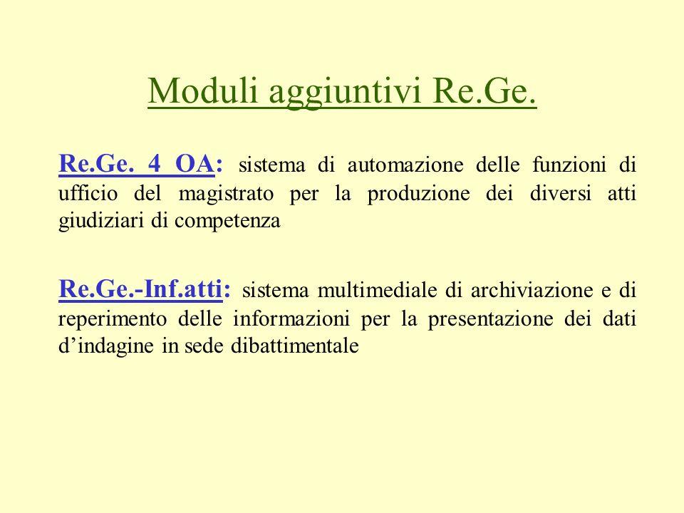 Moduli aggiuntivi Re.Ge. Re.Ge. 4 OA: sistema di automazione delle funzioni di ufficio del magistrato per la produzione dei diversi atti giudiziari di