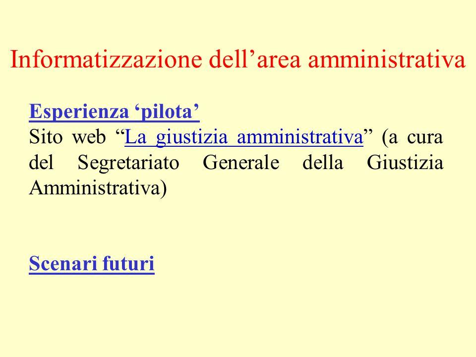 Informatizzazione dellarea amministrativa Esperienza pilota Sito web La giustizia amministrativa (a cura del Segretariato Generale della Giustizia Amm