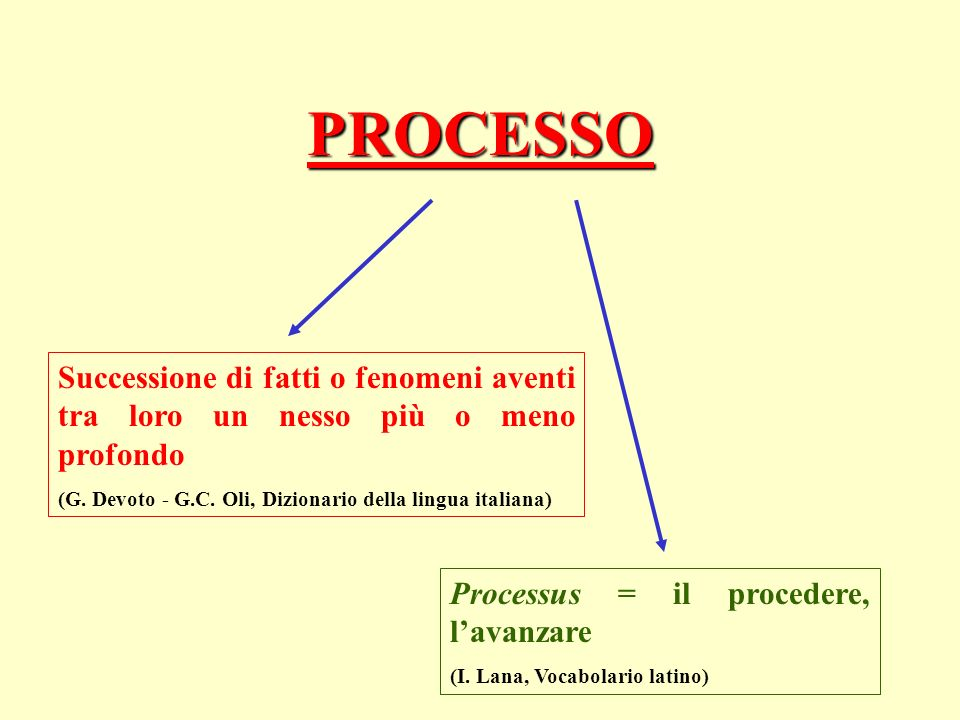 PROCESSO Successione di fatti o fenomeni aventi tra loro un nesso più o meno profondo (G.